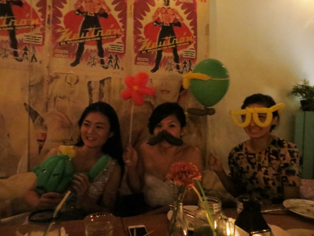 Presenting the three balloon amigoes... ... The Angry Cactus, Mr Mario Mustache and Mr Oversized-Geeky-Spectacles!